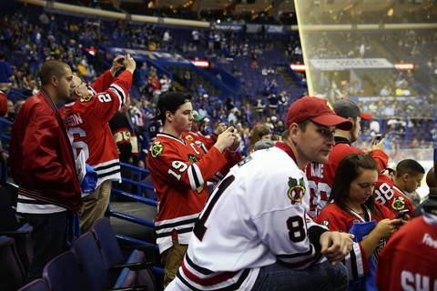 Blackhawks watch warmups for Game 1 at the Scottrade Center.