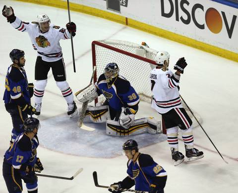 Brent Seabrook celebrates after scoring in the first period.