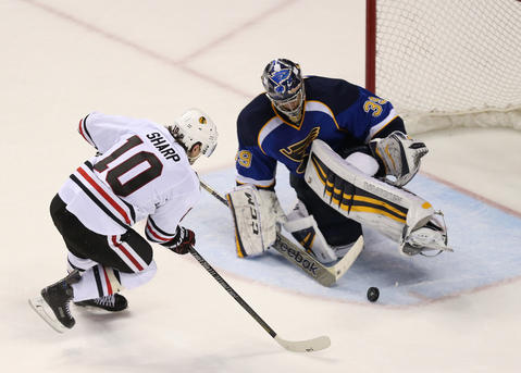Patrick Sharp fails to score on Blues goalie Ryan Miller in the second overtime.