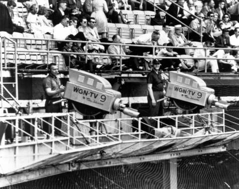 WGN television cameras covered the ballpark for their at home viewers in the 1960's.