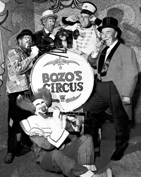 """Bozo's Circus"", a television program targeted to kids, became more popular in Chicago than in any other television market. Bozo's original cast is shown here with Bob Bell as Bozo, in 1966."