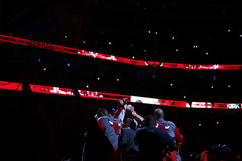 The Bulls huddle before playing the Wizards in Game 1.