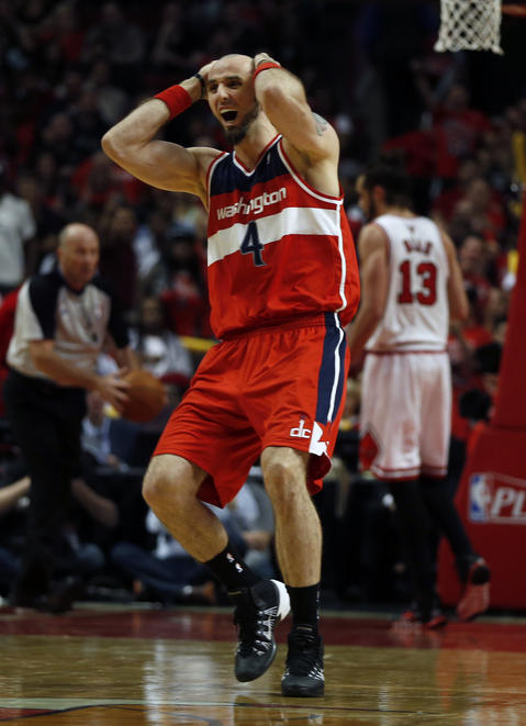 The Wizards' Marcin Gortat reacts to being called for an offensive foul in the second quarter.