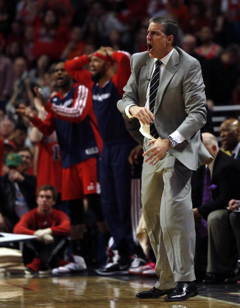 Wizards coach Randy Wittman reacts in the 4th quarter.