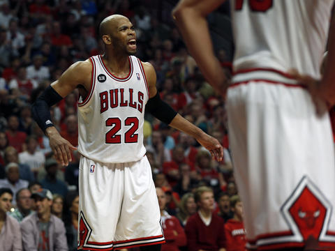 Taj Gibson reacts to being called for a foul in the 4th quarter.