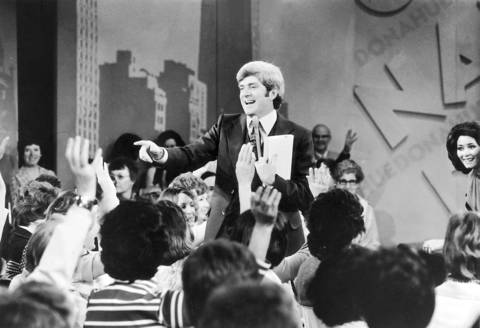 "Talk show host Phil Donahue on the set of the ""Donahue"" show during the 1970's."
