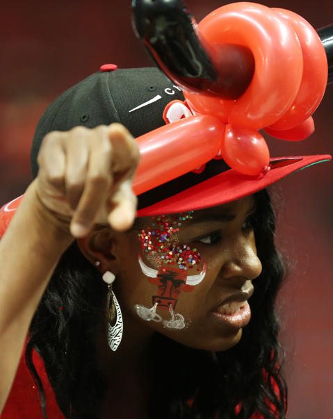 A Bulls fan wears face paint at the United Center before Game 2.