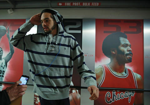 Joakim Noah arrives at the United Center for Game 2.