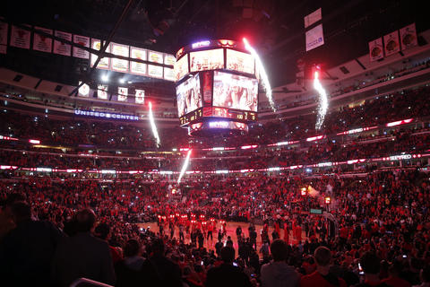 The Bulls are introduced at the United Center before Game 2.