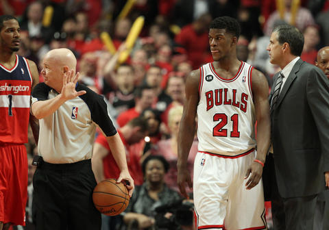 Jimmy Butler walks away after a skirmish with the Wizards in the second quarter.