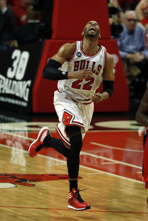 Taj Gibson reacts to his 2nd quarter basket against the Wizards.