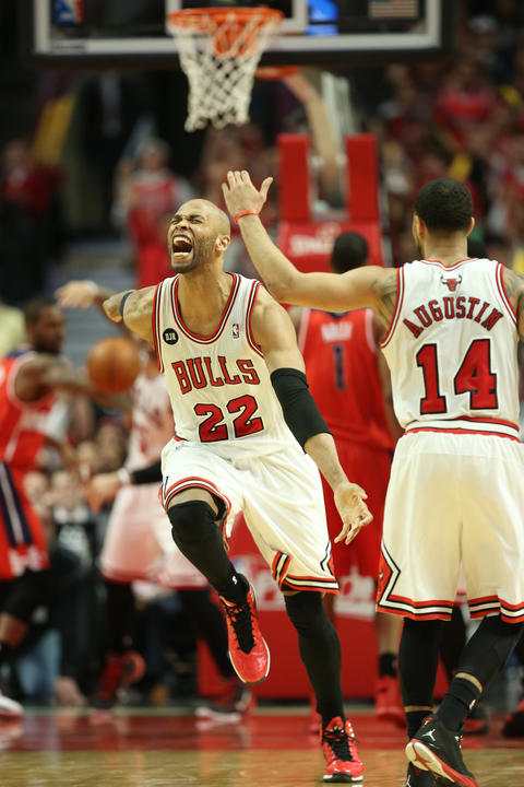 Taj Gibson yells after making a basket in the third quarter.