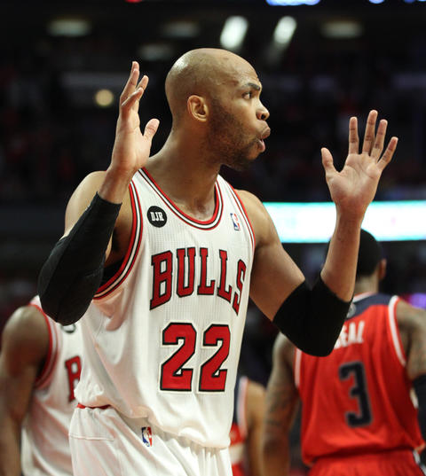 Taj Gibson reacts after being called for a foul late in the fourth quarter.