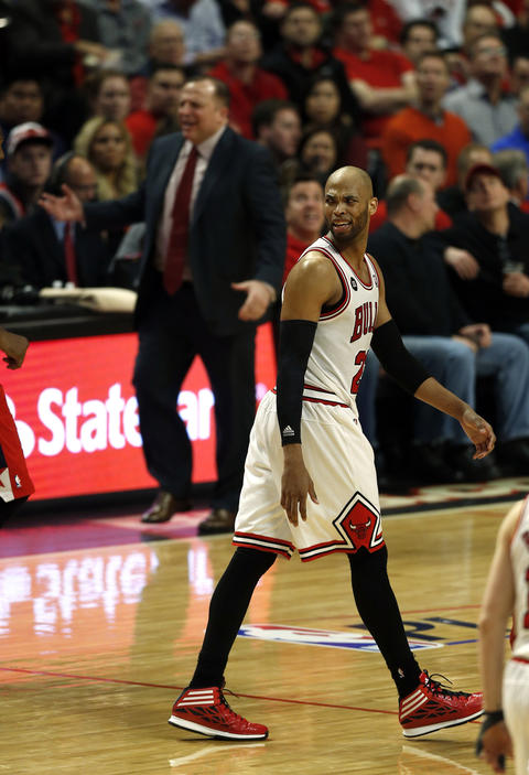 Taj Gibson and Tom Thibodeau react to official's call in the fourth quarter.