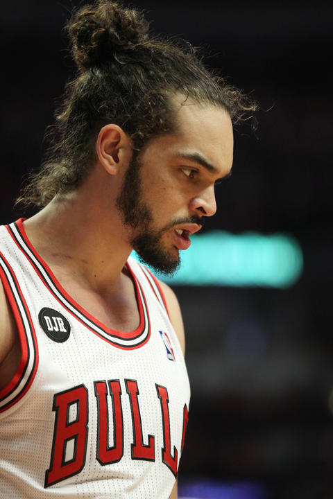 Joakim Noah stands on the court in the final moments of the fourth quarter.