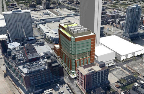 Proposed McCormick Place entertainment district looking southwest in Motor Row south of the Loop.