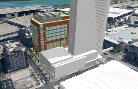 Proposed McCormick Place entertainment district looking southeast in Motor Row south of the Loop.