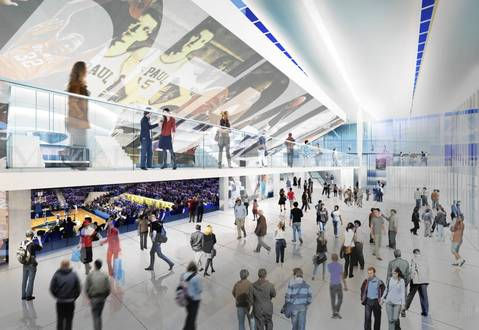Rendering showing the interior of the proposed DePaul University basketball arena.