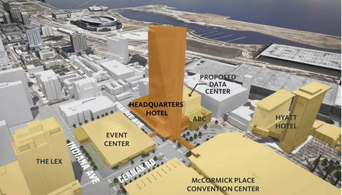 An aerial view of the proposed Depaul University arena and McCormick place hotel and entertainment district.