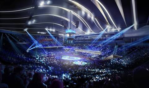 A rendering of the proposed DePaul University basketball arena in use for a concert.