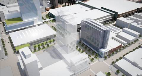 Looking southeast, a rendering of a new hotel in the proposed entertainment district near McCormick Place.