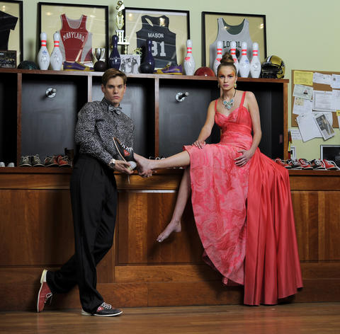 Model Casey, at left: Egyptian cotton evening shirt, silk cummerbund and bow tie all from Gian Marco Menswear. Model Elle, at right: Theia gown, $1,995, Jones & Jones. Kate Spade earrings, $128, Handbags in the City. Necklace, $450, Bijoux.