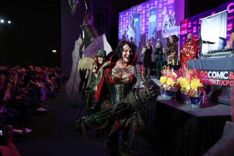 Kael Lampe, dressed as a character named Ryder Hood, exits after competing in the C2E2 Championships of Cosplay judging at McCormick Place on Saturday.