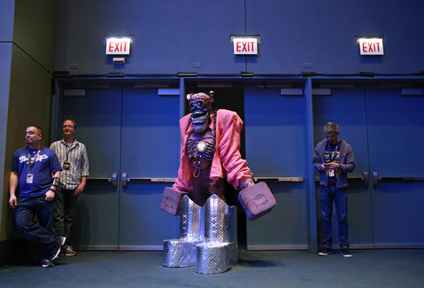 """Mike Wong, dressed as """"Frankenberry,"""" waits for judging results during the C2E2 Championships of Cosplay at McCormick Place on Saturday."""