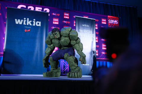 John Quade, dressed as the Incredible Hulk, competes during the C2E2 Championships of Cosplay judging at McCormick Place on Saturday.