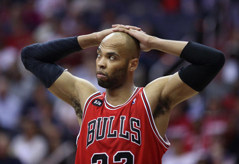 Taj Gibson reacts in the fourth quarter.