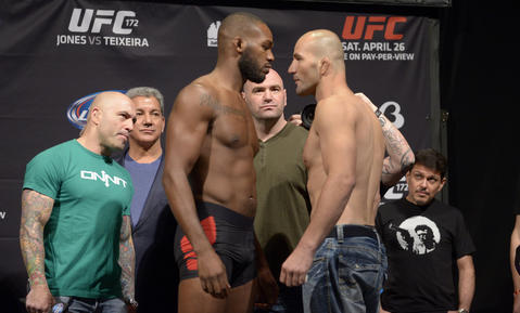 At UFC 172, Jon Jones (left) and Glover Teixeira (right) face off at the weigh-in for their UFC Light Heavyweight Title Fight at the Baltimore Arena.