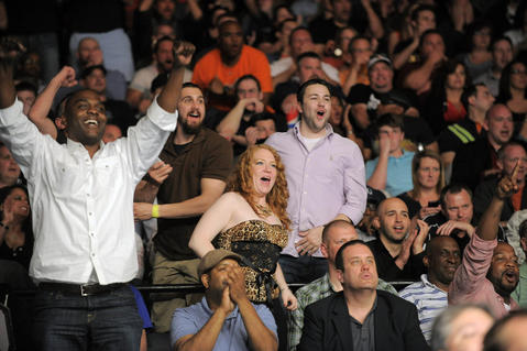 Fans react to a knockout in UFC 172.