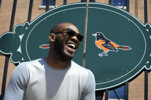 Jon Jones enjoys himself at Camden Yards.