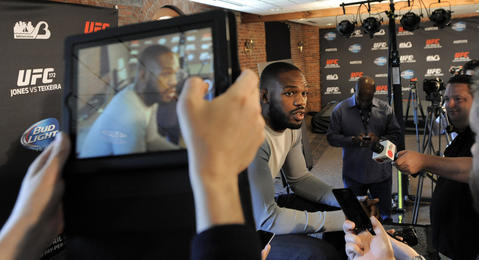 Jon Jones takes questions inside the Warehouse at Camden Yards.