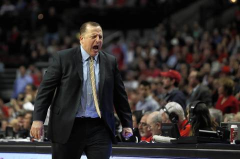 Bulls coach Tom Thibodeau reacts to a call in the first half.