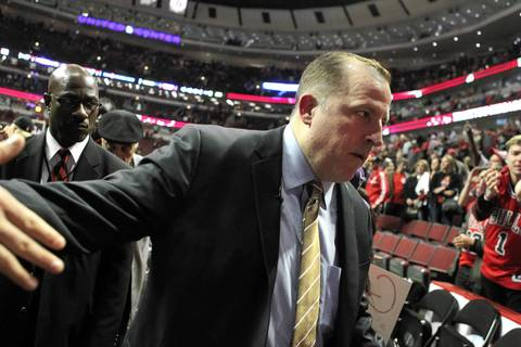 Bulls coach Tom Thibodeau leaves the court after losing to the Wizards.