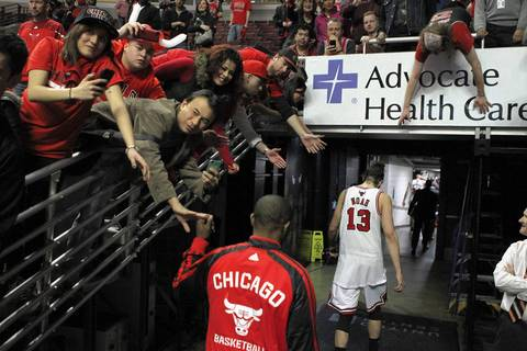 Joakim Noah leaves the court after losing Game 5.