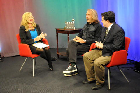 "Marsha Karp, producer of ""Cameras Rolling,"" filmed the May episode on West Hartford Community Television with guests Reno Venturi, at center, owner Of Actors Gym and producer of ""Pleading Sanity"" and Russell Bernstein, at right, Actor/Writer of the ""Pleading Sanity"" web series."