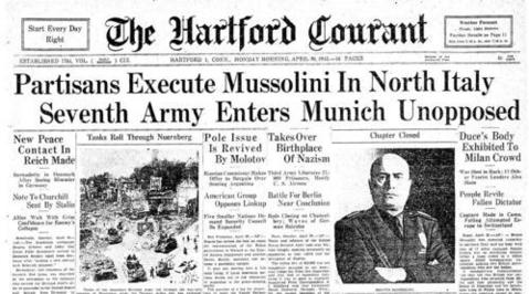 Benito Mussolini was executed in northern Italy on April 28, 1945. His body, along with those of 17 other fascist leaders, was put on display in Milan.