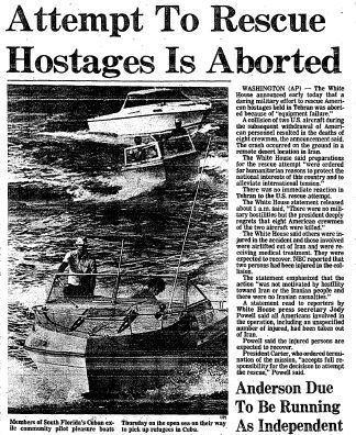 An attempt on April 24, 1980, by U.S. servicemen to rescue Americans taken hostage in Iran on Nov. 4, 1979, was aborted. Operation Eagle Claw led to the deaths of eight U.S. troops and the destruction of two aircraft.