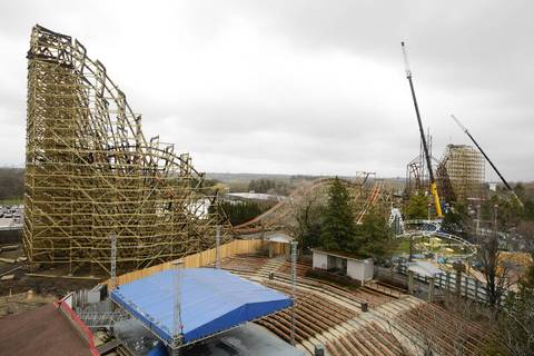The Goliath wooden roller coaster being built at Six Flags Great America.