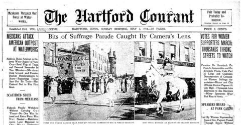 "Suffrage day was held in many cities across the U.S. on May 2, 1914 to mark the work toward women's voting rights. In Hartford, a parade was held. ""No hostile demonstrations were made by the big crowds which lined the streets, who, indeed, seemed favorably impressed by the demonstration,"" the Courant reported.  Click here to see a full-page PDF of the Courant's coverage."