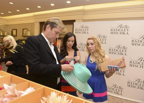 Fashion designer James Mischka, Annemarie Dillard and a guest attend Badgley Mischka Celebrates The Kentucky Derby With Special Appearance At Dillards.