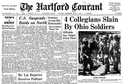 Four unarmed Kent State students were killed when Ohio National Guardsmen opened fire while dispersing an anti-war rally on campus May 4, 1970. As news of the deaths spread, student groups in Connecticut called for an end to classes so students in this state could join the protest of United States involvement in Southeast Asia.  Click here to see a full-page PDF of the Courant's coverage.