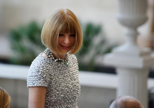 Vogue Magazine editor Anna Wintour arrives for the official opening of The Anna Wintour Costume Center at The Metropolitan Museum of Art.