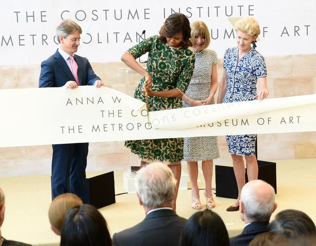 (L-R) Metropolitan Museum of Art Director Thomas P. Campbell, first lady Michelle Obama, Vogue Editor in Chief Anna Wintour and Metropolitan Museum of Art President Emily K. Rafferty attend the Anna Wintour Costume Center Grand Opening.