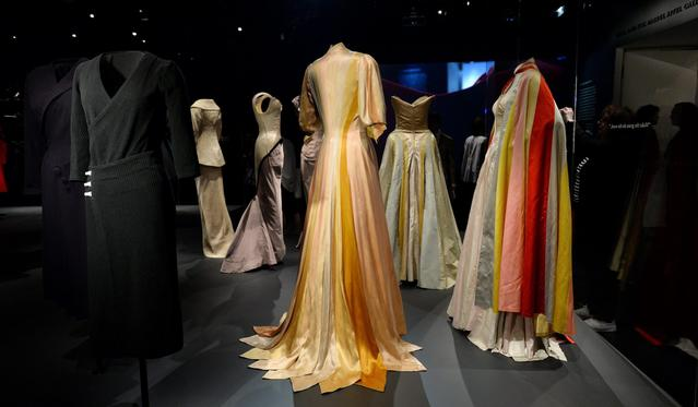 A view of dresses during a preview of the exhibit 'Charles James: Beyond Fashion' at the Anna Wintour Costume Center.