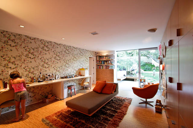 Daks wallpaper from Walnut Wallpaper in Los Angeles adds colorful detail to the children's wing in the Los Feliz home of filmmaker and KCET producer Juan Devis and artist Laura Purdy.