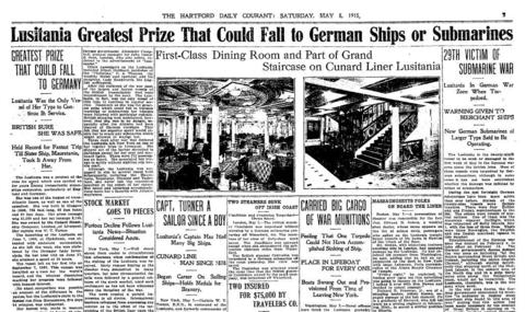 On May 7, 1915, the British ocean liner Lusitania, traveling off the coast of Ireland, was torpedoed by a German submarine. The ship sank quickly, killing 1,198 people, including 128 Americans.  Click here to see a full-page PDF of the Courant's coverage.