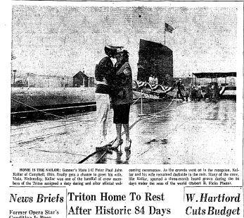The USS Triton, the world's largest submarine at the time, returned home to New London on May 11, 1960, after completing the first submerged circumnavigation of the Earth. The 36,335-mile trip took 84 days. Click here to see a full-page PDF of the Courant's coverage.